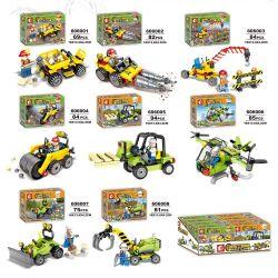 SHENG YUAN SY 606001 606002 606003 606004 606005 606006 606007 606008 Xếp hình kiểu Lego BUILD TEAM BuildTeam City Engineering Team 8 Small Dump Trucks, Drilling Machines, Lightweight Cranes, Roads, L