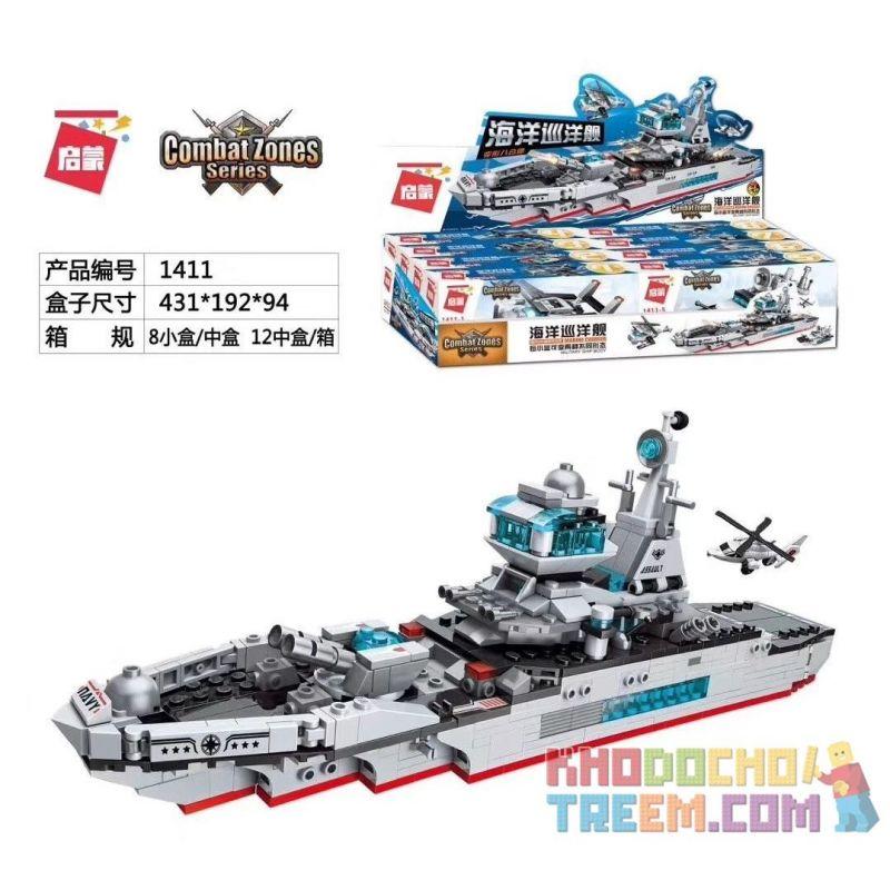 Enlighten 1411 Qman 1411 Xếp hình kiểu Lego MILITARY ARMY Combat Zones Series Marine Cruiser Ocean Cruiser 8 Deformation Eight Ocean Cruiser 8 Biến Thể Tám Phù Hợp