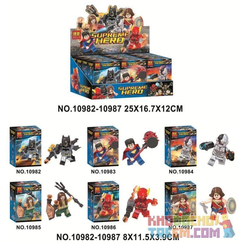 Bela 10982 10983 10984 10985 10986 10987 Lari 10982 10983 10984 10985 10986 10987 Xếp hình kiểu Lego SUPER HEROES Supreme HERO Justice Alliance 60 Allice Alliance 60. gồm 6 hộp nhỏ