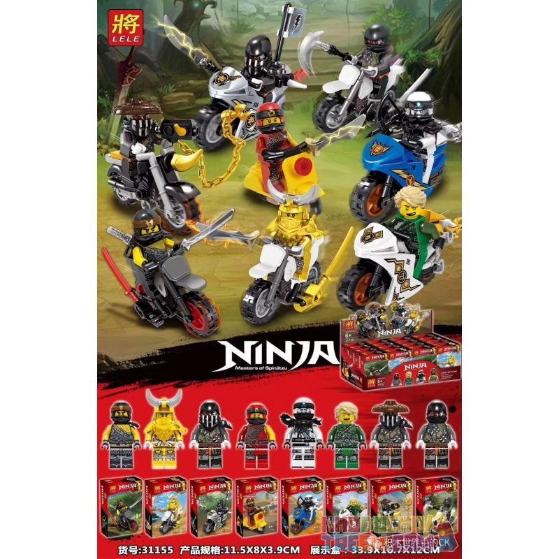 LELE 31155 Xếp hình kiểu Lego THE LEGO NINJAGO MOVIE 8 Phantom Ninja Bike Minifigure Phantom Ninja Riding Motorcycle Minifigure 8