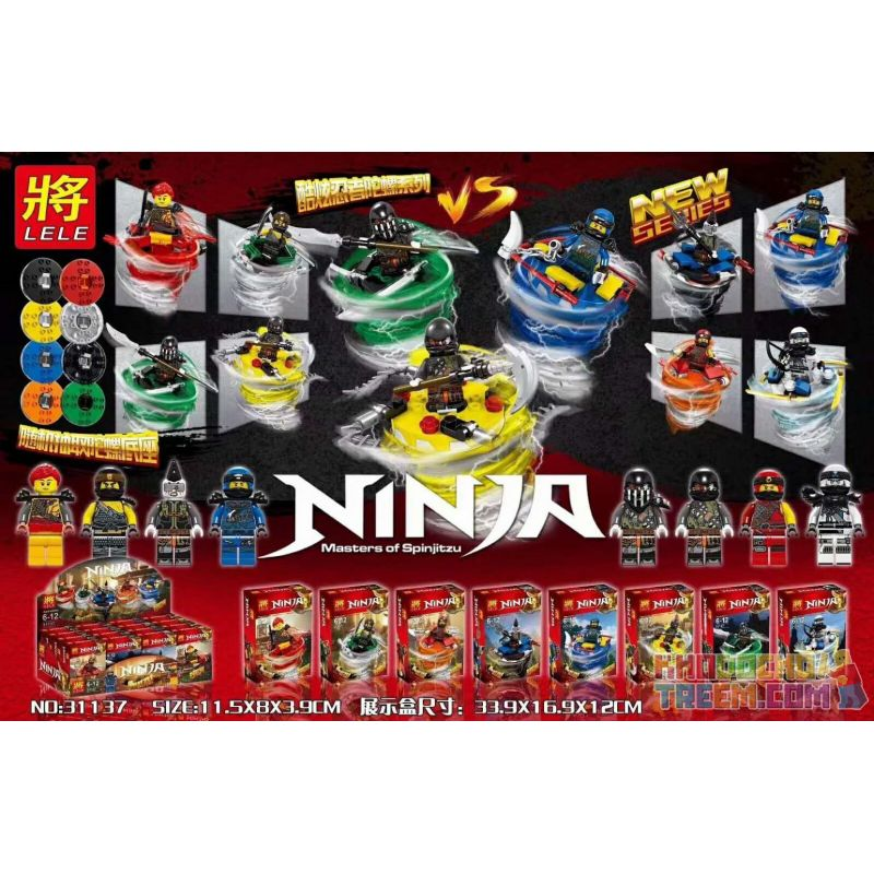 LELE 31137 Xếp hình kiểu Lego THE LEGO NINJAGO MOVIE 8 Cool Ninja Spinners 8 con quay ninja thú vị