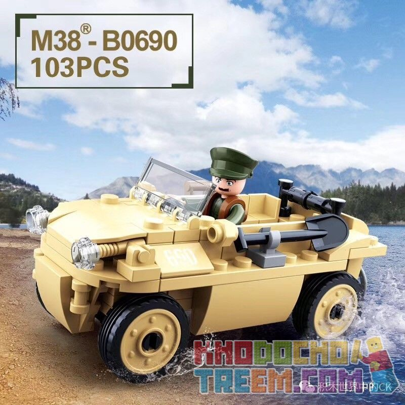 "SLUBAN M38-B0690 B0690 0690 M38B0690 38-B0690 Xếp hình kiểu Lego VW82 Amphibious TUB Car World War II Adversity Rebirth Type 82 ""Barrel"" Amphibious Jeep Xe Jeep Lội Nước Kiểu 82 ""Thùng"" 106 khối"