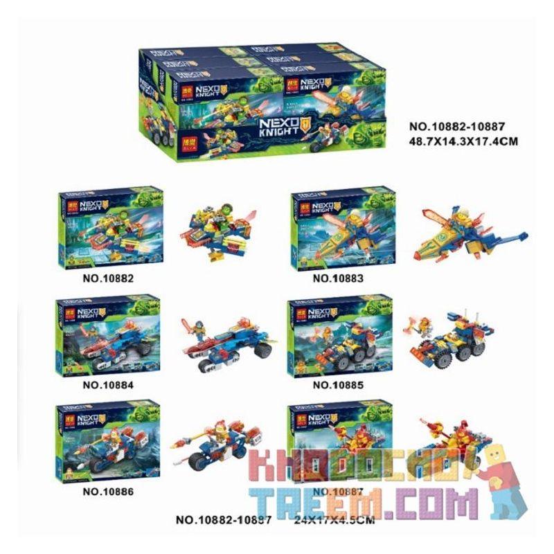 Bela 10882 10883 10884 10885 10886 10887 Lari 10882 10883 10884 10885 10886 10887 Xếp hình kiểu Lego NEXO KNIGHTS Nexo Knight 6 Xe tăng mini của Hiệp sĩ nguyên tố gồm 6 hộp nhỏ