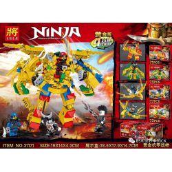 LELE 31171 31171-1 31171-2 31171-3 31171-4 Xếp hình kiểu Lego THE LEGO NINJAGO MOVIE Gold Mecha God Of War Gold Edition 4 Combo Gold Mecha God of War Gold Edition 4 Combo gồm 4 hộp nhỏ 295 khối