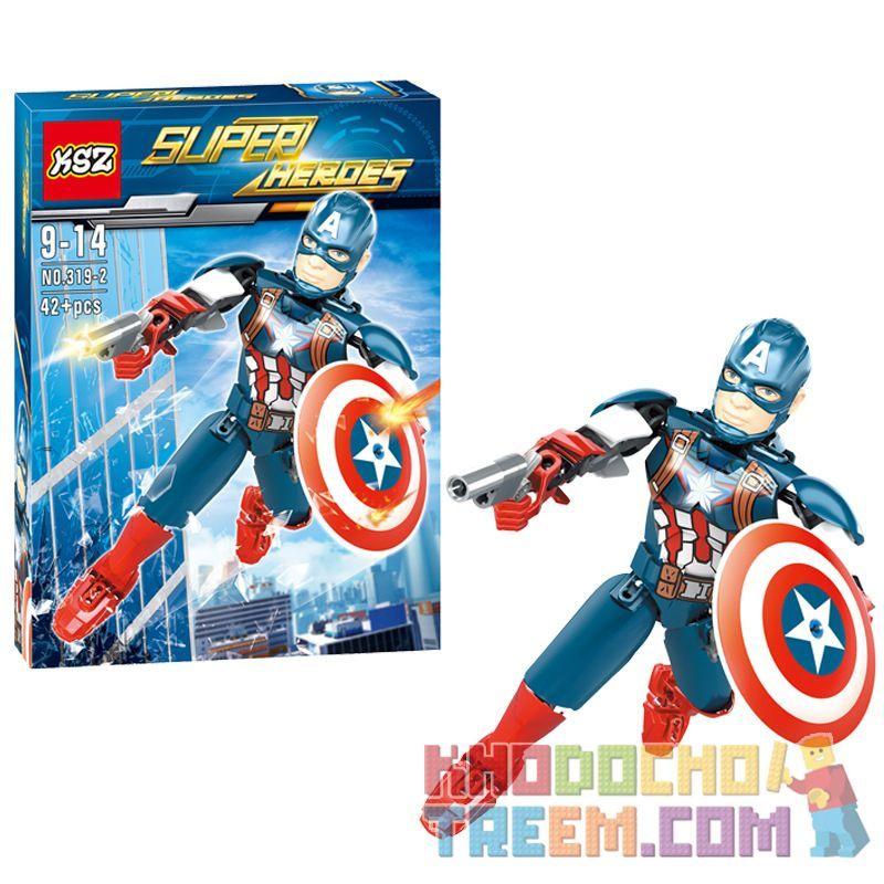 XSZ KSZ 319-2 Xếp hình kiểu Lego TECHNIC Assembled Doll Captain America Đội Trưởng Mỹ 42 khối