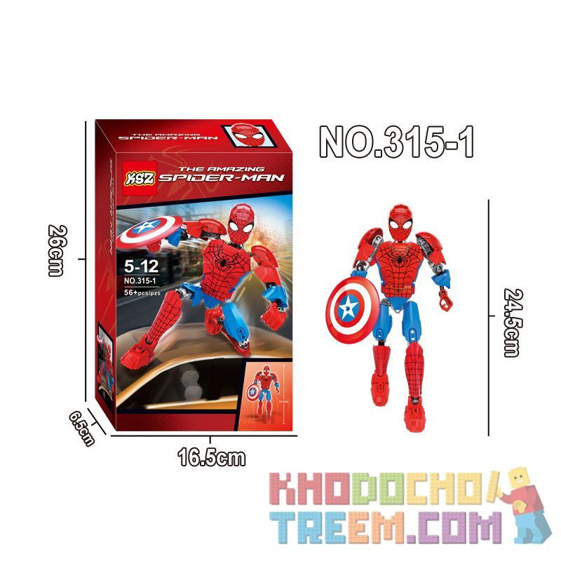 XSZ KSZ 315-1 Xếp hình kiểu Lego MARVEL SUPER HEROES The Amazing Spider-Man Captain America Buckler Người nhện tuyệt vời Captain America Buckler 56 khối