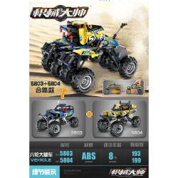 QIHUI 5803 Xếp hình kiểu Lego TECHNIC Mechanical Master Blue Truck, Pull Back Car Xe Tải Màu Xanh, Xe đầu Kéo Lùi 193 khối có động cơ kéo thả