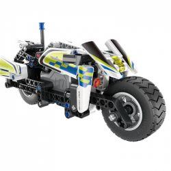 QIHUI 5806 Xếp hình kiểu Lego TECHNIC Mechanical Master Police Motorcycle Pull Back Car Xe Mô Tô Cảnh Sát Lùi Xe 193 khối có động cơ kéo thả