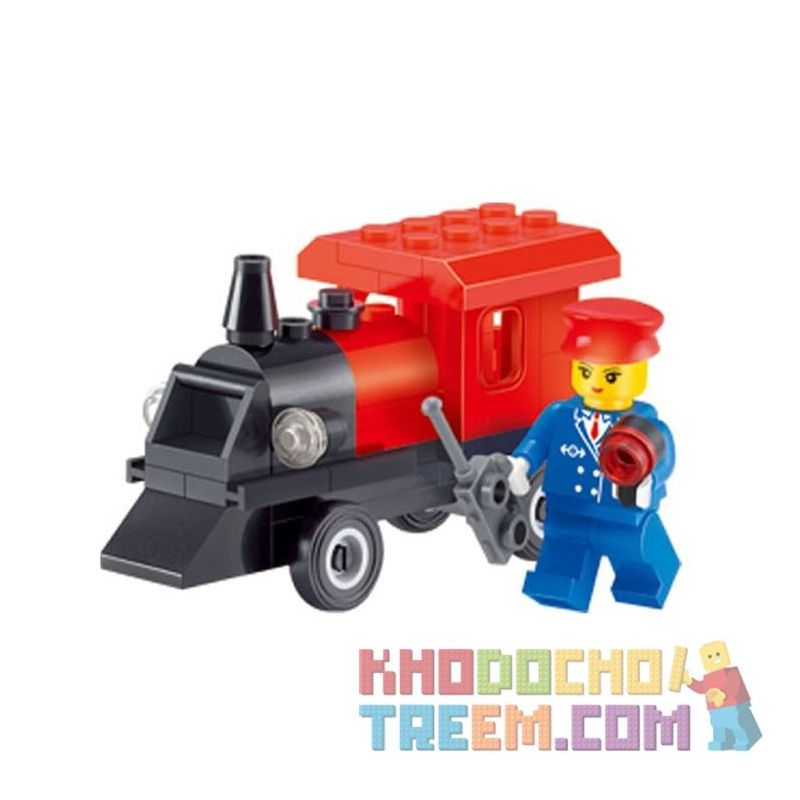 Enlighten 1212 Qman 1212 KEEPPLEY 1212 Xếp hình kiểu Lego FRIENDS Little Car Girl Small Train Tàu Nhỏ 54 khối