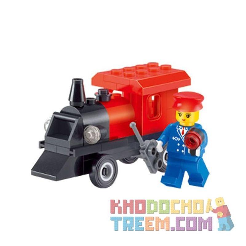 Enlighten 1212 Qman 1212 KEEPPLEY 1212 Xếp hình kiểu Lego FRIENDS Small Train Tàu nhỏ 54 khối