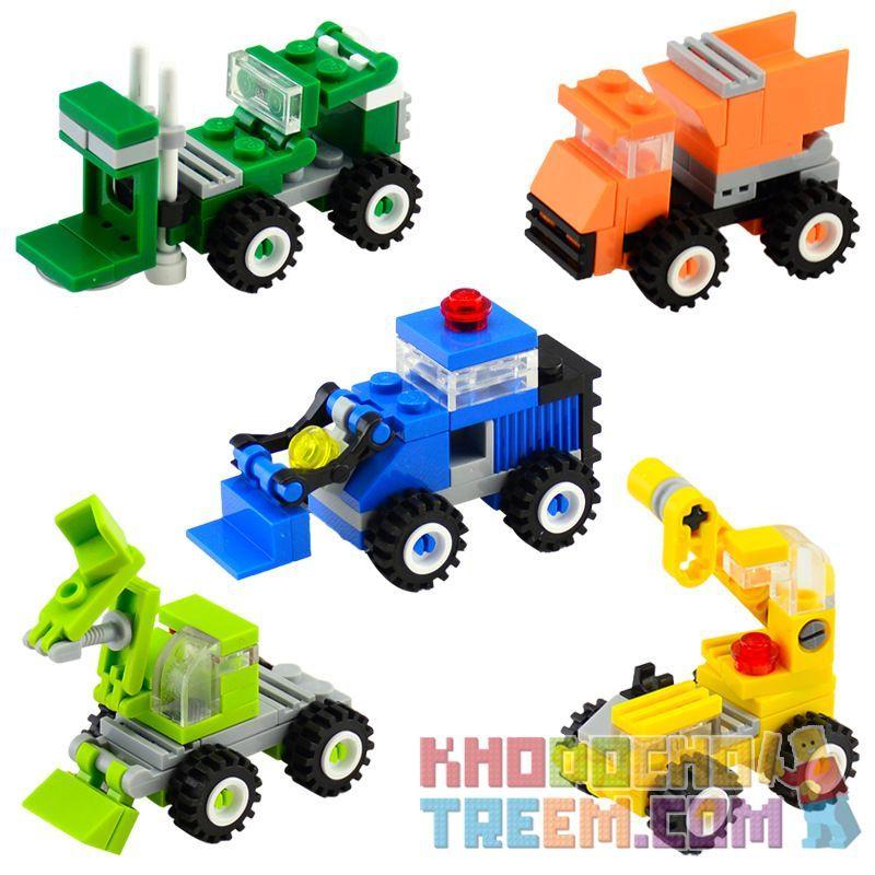 Enlighten 1216 1217 1218 1219 1220 Qman 1216 1217 1218 1219 1220 KEEPPLEY 1216 1217 1218 1219 1220 Xếp hình kiểu Lego MINI MODULAR Mini Construction Trucks 5 Yellow Cranes, Green Forklifts, Blue Bulld
