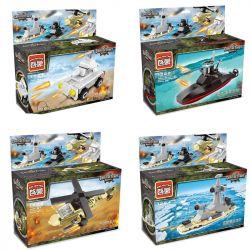 Enlighten 1221 1222 1223 1224 Qman 1221 1222 1223 1224 KEEPPLEY 1221 1222 1223 1224 Xếp hình kiểu Lego MINI MODULAR Mini Military 4 Types: Storm Tank, Black Pearl Submarine, Gunship, Aegis Cruiser Quâ