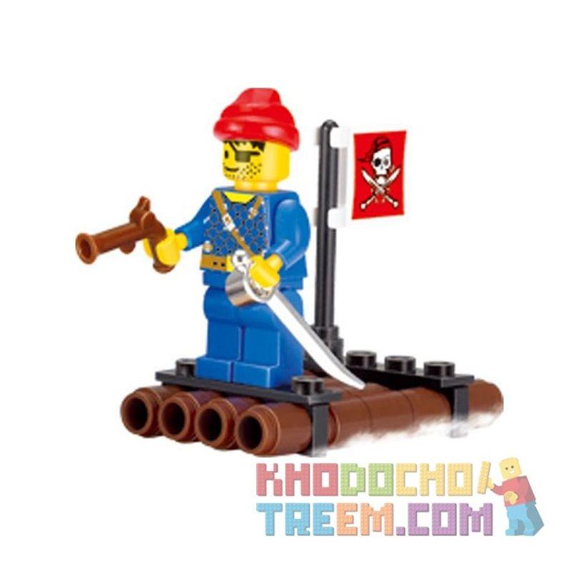 Enlighten 1201 Qman 1201 Xếp hình kiểu Lego PIRATES OF THE CARIBBEAN Pirates BAEBARA Pirate Small Wooden Raft Chiếc Bè Nhỏ Của Cướp Biển 34 khối