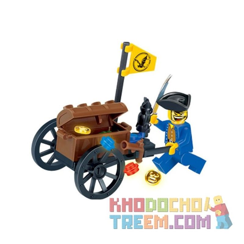 Enlighten 1202 Qman 1202 KEEPPLEY 1202 Xếp hình kiểu Lego PIRATES OF THE CARIBBEAN Pirate's Treasure Car 25 khối