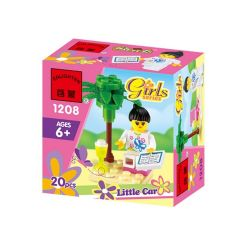 Enlighten 1208 Qman 1208 Xếp hình kiểu Lego FRIENDS Girls Little Car Girl Reading Cô Gái đọc Sách 20 khối