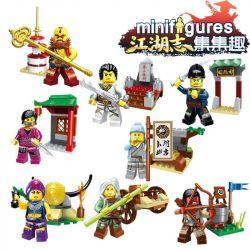 Enlighten 1504 Qman 1504 Xếp hình kiểu Lego COLLECTABLE MINIFIGURES Set Fun The Fourth Quarter Of Jianghu Zhi Zhonghua Street 8 People 8 Nhân Vật Nhỏ Từ Chinatown Trong Quý 4