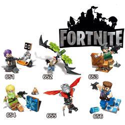 Decool 651 652 653 654 655 656 Jisi 651 652 653 654 655 656 Xếp hình kiểu Lego FORNITE Fortnite Fortress Night House 6 6 Nhân Vật Nhỏ