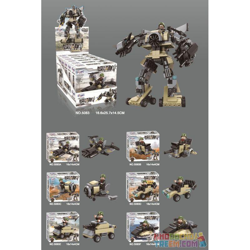 WINNER JEMLOU 5083 5083A 5083B 5083C 5083D 5083E 5083F Xếp hình kiểu Lego MILITARY ARMY Charge God Of War Liuhe One Machine Charge God Of War Six Trong Một Mech gồm 6 hộp nhỏ