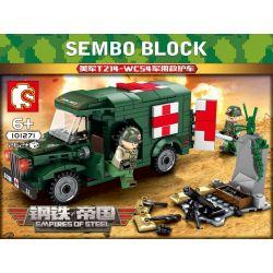 SEMBO 101271 Xếp hình kiểu Lego EMPIRES OF STEEL Steel Empire US Military T214-WC54 Military Ambulance Xe Cứu Thương Quân Sự T214-WC54 Của Quân đội Hoa Kỳ 262 khối