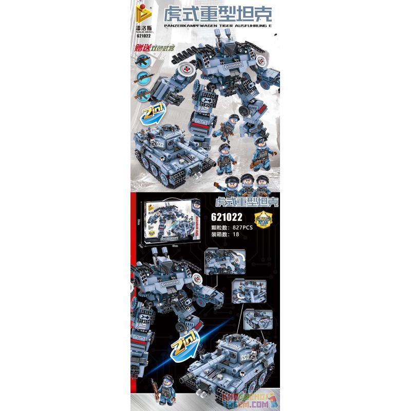 PanlosBrick 621022 Panlos Brick 621022 Xếp hình kiểu Lego TRANSFORMERS Super Deformation Panzerkampfwagen Tiger Ausführung E Tank Machine Armor Tiger Heavy Tank Xe Tăng Hạng Nặng Tiger 827 khối
