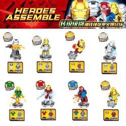 SHENG YUAN SY 1235 Xếp hình kiểu Lego SUPER HEROES Heroes Assmble Electroplating Iron Man Minifigure 8 Types Mạ điện Iron Man Minifigure 8 Kiểu