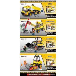 SHENG YUAN SY 606017 606018 606019 606020 Xếp hình kiểu Lego CITY Urban Engineering Team 4 Types Of Dump Trucks, Hydraulic Demolition Drilling Rigs, Crawler Armored Vehicles, Road Rollers Đội kỹ thuật