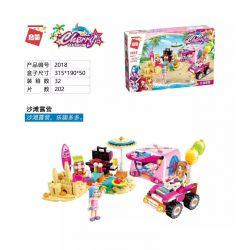 Enlighten 2018 Qman 2018 KEEPPLEY 2018 Xếp hình kiểu Lego FRIENDS Cherry Shirley Vibrant Beach Beach Camping Cắm Trại Trên Bãi Biển 202 khối