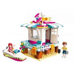 Enlighten 2019 Qman 2019 KEEPPLEY 2019 Xếp hình kiểu Lego FRIENDS Cherry Shirley Vibrant Beach Rescue Hut By The Sea Túp Lều Cứu Hộ Ven Biển 229 khối