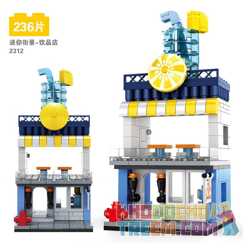 DR.LUCK 2312 WANGE 2312 Xếp hình kiểu Lego MINI MODULAR Juice Shop Mini Street View-Drink Shop Cửa Hàng đồ Uống-Nhìn Ra Phố Nhỏ 236 khối