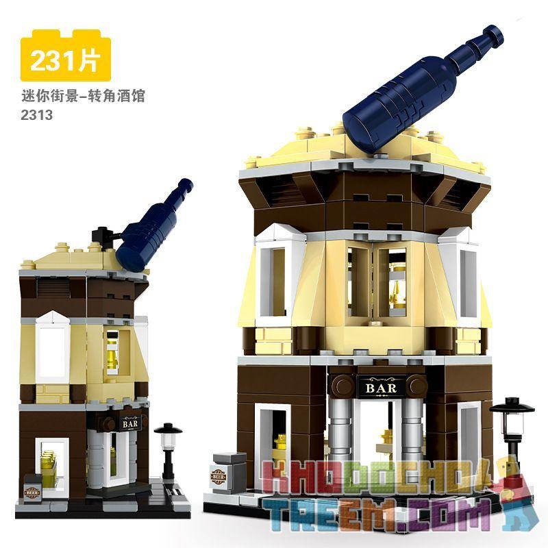 DR.LUCK 2313 WANGE 2313 Xếp hình kiểu Lego MINI MODULAR Corner Bar Mini Street View-Corner Tavern Quán Rượu Nhỏ ở Góc Nhìn Ra Phố 231 khối