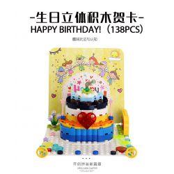 WANGE 2100 Xếp hình kiểu Lego SEASONAL Happy Birthday! Birthday Stereo Card Thiệp Sinh Nhật 138 khối