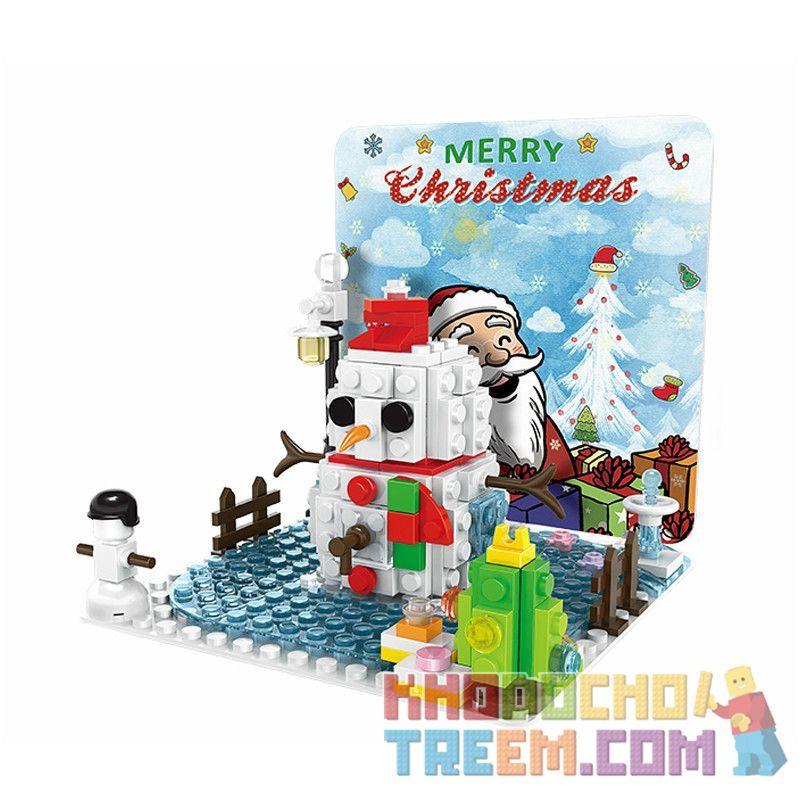 WANGE 2101 Xếp hình kiểu Lego CREATOR Christmas Pop-up Card Thiệp giáng sinh 168 khối