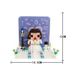 WANGE 2102 Xếp hình kiểu Lego Bride Pop-up Greeting Card Thiệp chúc mừng ba chiều cho cô dâu 223 khối