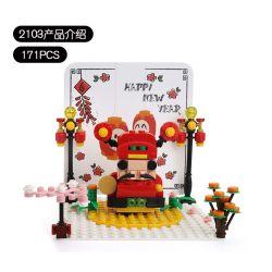 DR.LUCK 2103 WANGE 2103 Xếp hình kiểu Lego Kung Hai Fat Choy Fortuna Pop-up Card Thẻ Pop-up Fortuna 171 khối