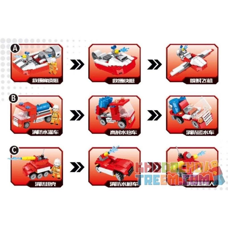 CAYI 2302 Xếp hình kiểu Lego COMBINED DEFORMATION Fire Fighting Series 9 Types Of Firefighting Overhead Support Aircraft, Speed Rescue Vehicles, And Marine Firefighting Ships Chữa cháy Series 9 các lo
