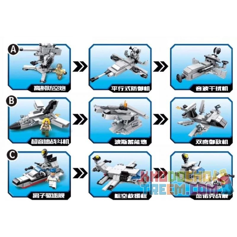 CAYI 2305 Xếp hình kiểu Lego COMBINED DEFORMATION Aircraft Carrier Series: Chuyun Aircraft Carrier, Feiyan Transport Aircraft, And Titan Destroyer 9 Models Loạt tàu sân bay: 9 mô hình của tàu sân bay