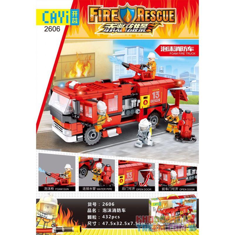 CAYI 2606 Xếp hình kiểu Lego FIRE RESCURE FireRescue Foam Fire Truck Red Flama Xe Cứu Hỏa Bằng Bọt 437 khối