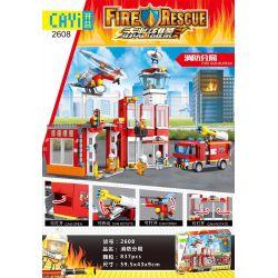 CAYI 2608 Xếp hình kiểu Lego FIRE RESCURE FireRescue Fire Sub Bureau Red Flama Fire Branch Chi Nhánh Lửa 835 khối