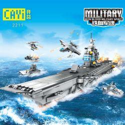 CAYI 2211 Xếp hình kiểu Lego IRON BLOOD MILITARY SPIRIT Nuclear-powered Aircraft Carrier 8 Combinations 8 tổ hợp tàu sân bay chạy bằng năng lượng hạt nhân 953 khối