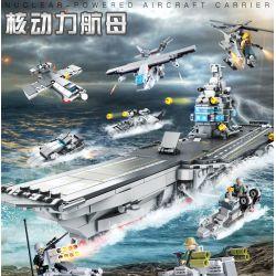 CAYI 2211 Xếp hình kiểu Lego IRON BLOOD MILITARY SPIRIT Tasting Nuclear Power Aircraft Carrier 8 Combination 8 Tổ Hợp Tàu Sân Bay Chạy Bằng Năng Lượng Hạt Nhân 953 khối