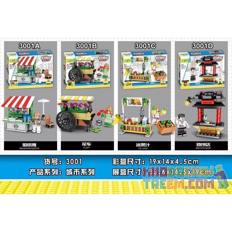 CAYI 3001 3001A 3001B 3001C 3001D Xếp hình kiểu Lego City 4 Types Of Stalls Newspaper Stalls, Floats, Ice Juice, Biscuits Shop 4 Loại Gian Hàng Gian Hàng Báo, Phao Nổi, Nước đá, Cửa Hàng Bánh Quy gồm