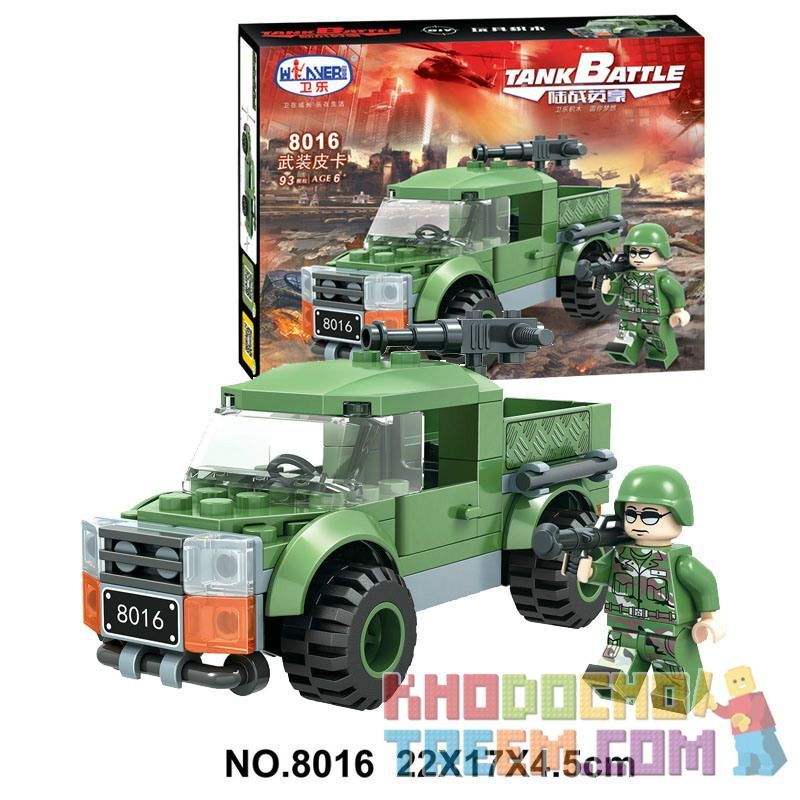 Winner 8016 Xếp hình kiểu Lego TANK BATTLE Armed Pickup Đón có vũ trang 93 khối