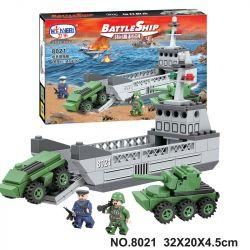 Winner 8021 Xếp hình kiểu Lego BATTLE SHIP BattleShip Sea Frontier Sword Tank Landing Craft Tàu đổ Bộ 169 khối