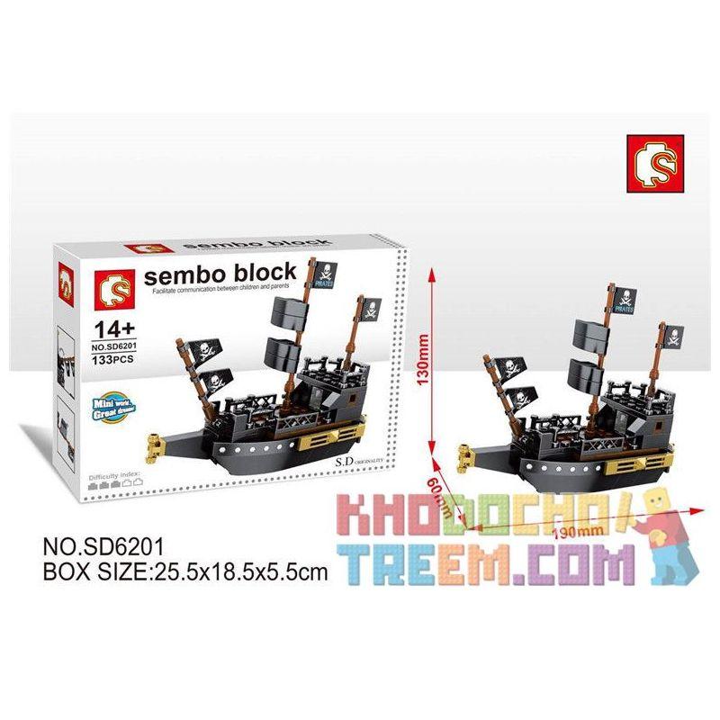 SEMBO SD6201 6201 Xếp hình kiểu Lego Sembo Block Pirates Of The Caribbean Black Pearl Ngọc Trai đen 133 khối