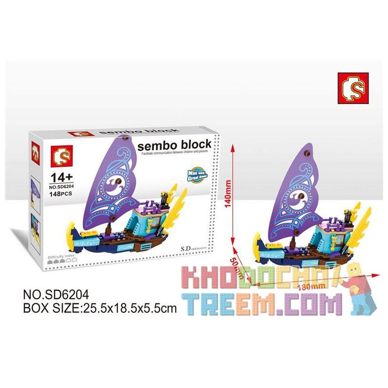 SEMBO SD6204 6204 Xếp hình kiểu Lego FRIENDS Sembo Block Con tàu phiêu lưu sử thi của Naida 148 khối