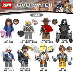 XINH X0230 0230 Xếp hình kiểu Lego COLLECTABLE MINIFIGURES 8 Minifigures Song Hana D.va, Reinhardt Wilhelm, Jesse McCray, Reaper, Soldier 76, Shimada Hanzo, Angel, Tracer 8 nhân vật nhỏ Song Hana D.va