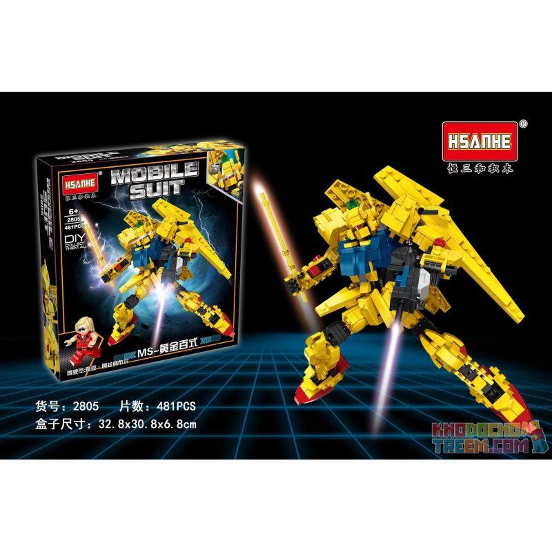 HSANHE 2805 Xếp hình kiểu Lego GUNDAM MS-Golden Hundred Styles MS-Golden trăm kiểu 481 khối