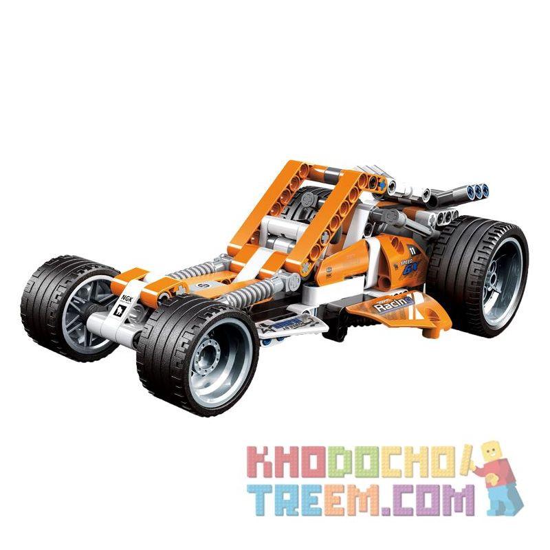 Decool 3804 Jisi 3804 Xếp hình kiểu Lego TECHNIC Off-road Racing Đua xe địa hình 225 khối có động cơ kéo thả