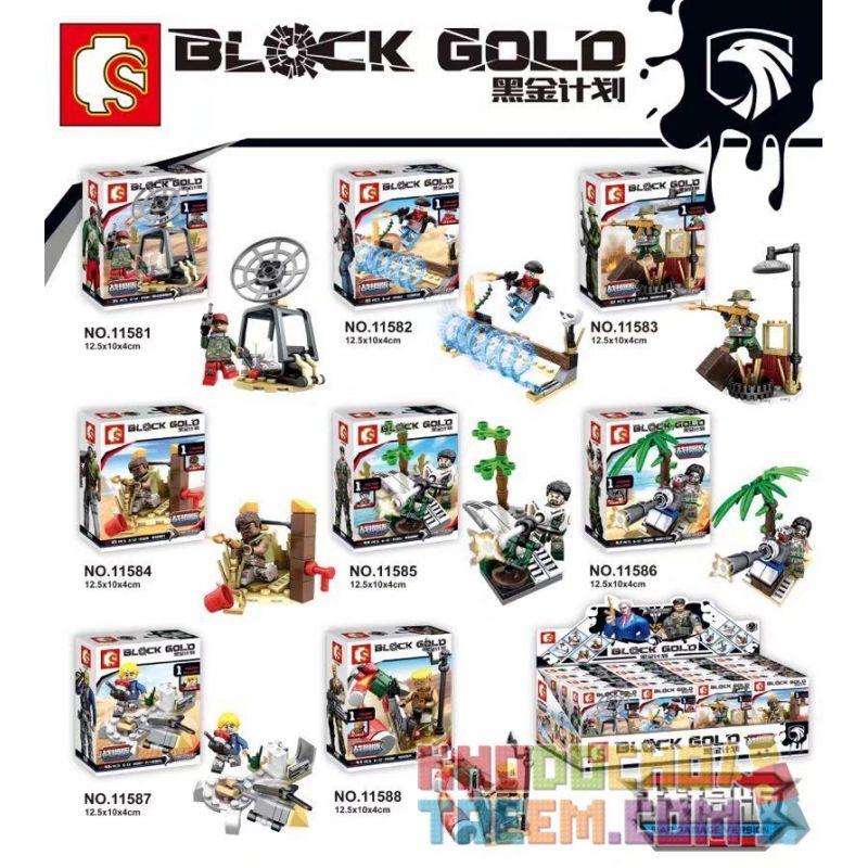 SEMBO 11581 11582 11583 11584 11585 11586 11587 11588 Xếp hình kiểu Lego MILITARY ARMY Black Gold Plan Battle Damaged Version Of The Military Minifigure 8 Models Trận chiến Kế hoạch vàng đen phiên bản