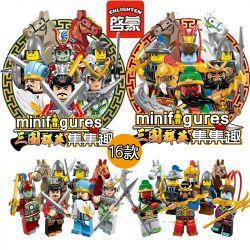Enlighten 1501 1501A 1501B Qman 1501 1501A 1501B Xếp hình kiểu Lego COLLECTABLE MINIFIGURES Set Fun The First Season Of The Three Countries, 16 People Three Kingdoms Heroes Trong Minifigures Mùa đầu T